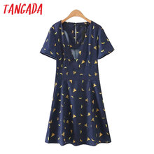 Tangada Fashion Navy Dress Banana Printed Dresses Summer Women Sexy Deep V-Neck Short Sleeve Mini Dresses Brand Mujer XL42