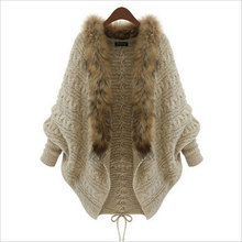 2016 Women Autumn Winter Cardigan Poncho Pull Femme Batwing Sleeve Fashion Loose Knitted Fur Collar Wool Sweater Coat Outwear