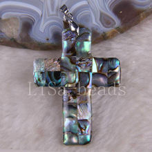 Free Shipping New without tags Fashion Jewelry Natural Blue New Zealand Abalone Shell Cross Pendant 1Pcs RK726