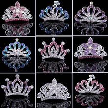 Princess Crown clamp hair comb,children tiaras infant Hair Clip for girls Party Wedding,kids Hair Accessories Jewelry ,  #A0030
