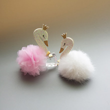 Glitter Felt Hairpin Cartoon Swan Hairball Lace Flower Hair Clip  Hair Bows HairBands Hair Ties Hair Accessorie