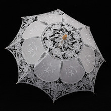 Vintage Embroidered Cotton Lace Parasol White Handmade Sun Umbrella Party Wedding Bridal Party Decoration Supplies