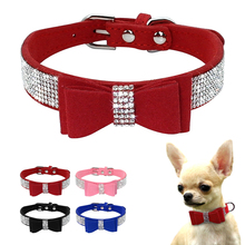 Buy Soft Seude Leather Puppy Dog Collar Bling Rhinestone Bowknot Kitten Cat Collars Small Medium Dogs Cats Chihuahua Pink XXS-M for $3.99 in AliExpress store