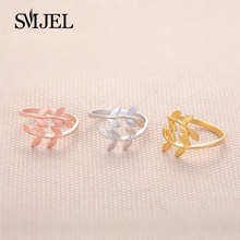 SMJEL Laurel leafy Open Rings for Women Accessories Oliver Branches Leaves Brief Finger Ring Female Anillos Rustic Jewelry R068(China)