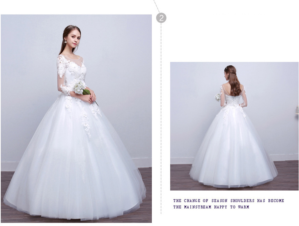 LAMYA Real Photo Princess Elegant Wedding Dresses With Long Lace Sleeve High Quality Ball Gown Bridal Gowns Vestidos De Noiva 3