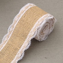 2M /Roll 5cm Width Jute Burlap Natural Hessian Ribbon With Lace Trim Edge Wedding Rustic Vintage Decoration Craft