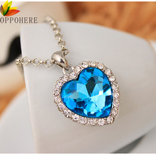OPPOHERE Crystal Heart Pendant Necklace Classic Titanic Ocean Crystal Heart Pendant Necklace Rhinestone Lover Gift