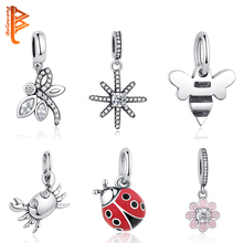 BELAWANG New 925 Sterling Silver Ladybug Dragonfly Flower Pendant Charm Fit Pandora Bracelet Necklace Original Jewelry Making