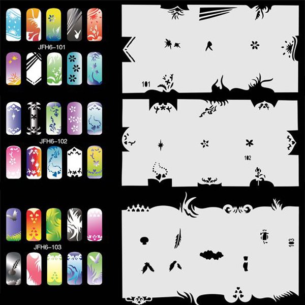 280 Designs 20 Sheets Airbrush Stencils For Nail Art Paint High Quality Mylar Material, Easy to Clean<br>