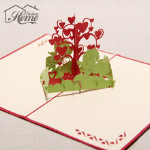 Foldable 3D Laser Cut Greeting Cards Handmade Carving Birthday Wishing Tree Party Paper Invitation PostCard Children Kids Gift