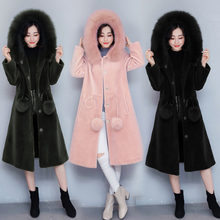 Womens Winter And Autumn Large Size Black Faux Fox Fur Coats Long Section Turn Down Collar Man-Made Fur Overcoats Clothes(China)