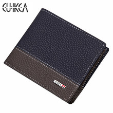 CUIKCA New Fashion Brand Wallet Men Wallet Patchwork Leather Men Purse Zipper Coin Wallet Men Billfold ID & Card Holders 6233(China)