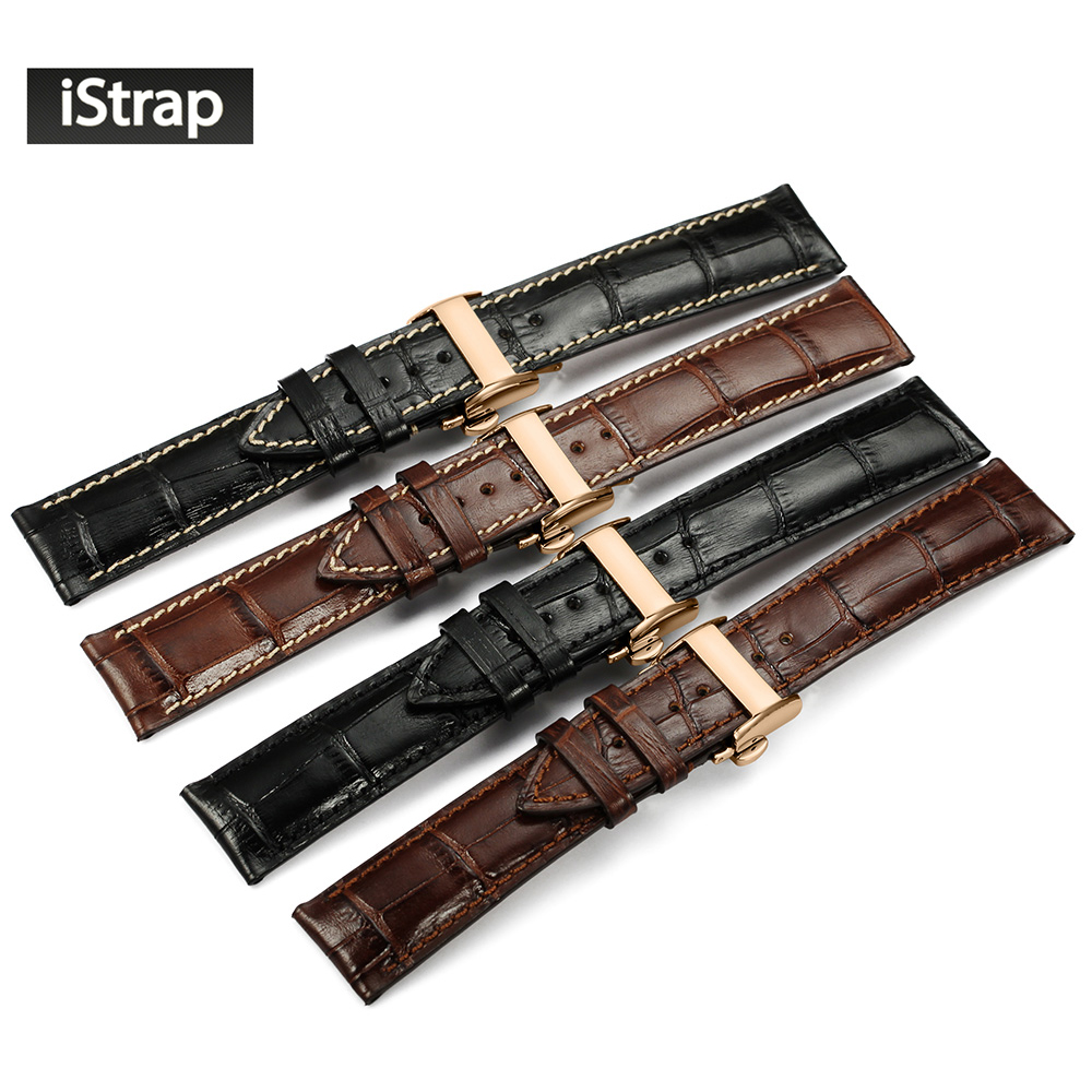 iStrap 20mm 21mm 22mm Watch Strap Black Brown Italian Genuine Leather Watchband Rose gold Deployment Buckle Strap For Men Women<br>