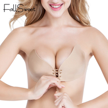 Women Strapless Bra Self Adhensive Backless Invisible Brassiere A B C cup,Sexy Push Up Bra Beige Black(China)
