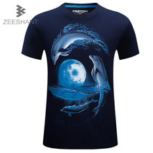 3D T shirt Women Brand Clothes Dolphin Printed Casual Women 2017 Summer Crop Breathable Short Sleeve Top Tee in Women's T-shirts