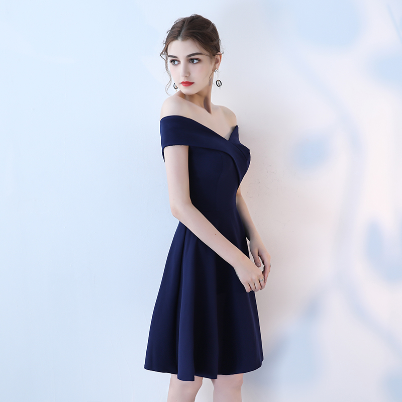 Real Picture Navy Prom Dresses 2018 Sexy Off Shoulder Prom Dress Short Party Boat Neck Simple Elegant Prom Gowns Evening 14