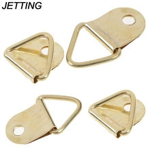 JETTING D Ring Universal Strong Golden 10pcs D Rings Decor Picture Frames Hanger Hooks Hanging Triangle Screws Helper HOT SALE(China)