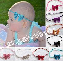 "30 pcs Children Hair Accessories Girl Rubber Band Paillette 2"" Bow Hair Band  Sequin hair Ropes Elastic rubber band PJ5223"