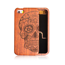 Retro Nature Bamboo Wood Skull Carving Case for iphone SE 5 5s High Quality 100% Original Novelty Wooden Case For iphone 5S