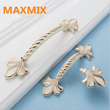 MAXMIX lily Ivory white outline in gold cabinet knobs drawer Door handles Wardrobe cabinet hardware furniture handle modern(China)