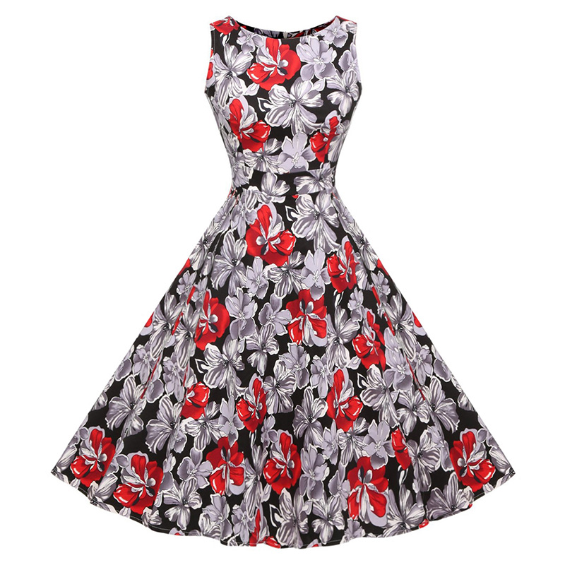 Kostlish Cotton Summer Dress Women 2017 Sleeveless Tunic 50s Vintage Dress Belt Elegant Print Rockabilly Party Dresses Sundress (81)