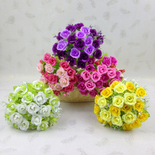 21 Buds Rose Flower Centerpiece Bouquet Artifical Floral Crafts Engagement Potted Silk Plastic Reception  Accent Piece