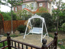 Love seats durable iron garden swing chair hammock outdoor furniture sling cover bench in white