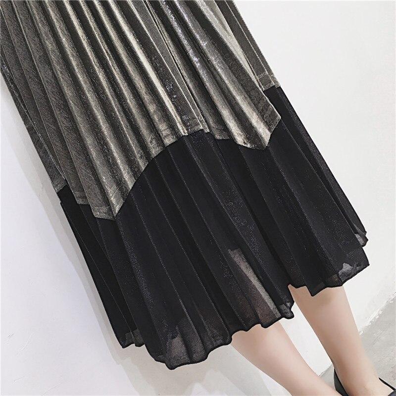 [GUTU] Autumn Summer 2018 Korean New Fashion Patchwork Color Bottoms All-match Elastic Waist Pleated Skirt Loose Women F89201 27