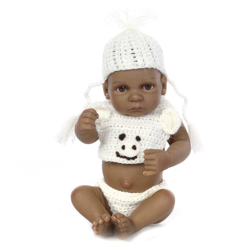 22cm Real Reborn Babies Black Boys Doll Toys for Childrens Birthday Gift,9 Silicone Reborn Baby Dolls with Clothes and Hat<br><br>Aliexpress