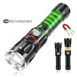 Usb зарядка высококлассный светодиодный фонарик окружающий COB лампа + с магнитом на хвостовой части дизайн Поддержка зума 4 режима освещения ...