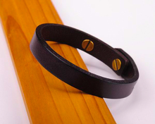 G370 Brown Simply Stylish Single Band Genuine Leather Bracelet Wristband Women's New