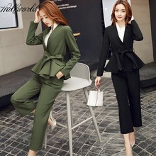 Spring 2017 Suit Fashion Pant Suits Women Casual Office Business Suits Formal Work Wear Sets Uniform Styles Elegant Pant Suits(China)