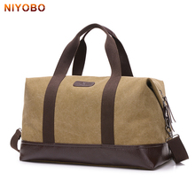 NIYOBO Large Capacity Canvas Travel Bags Casual Men Hand Luggage Travel Duffle Bag Big Tote 5 Colors Male Crossbody bag PT1234(China)