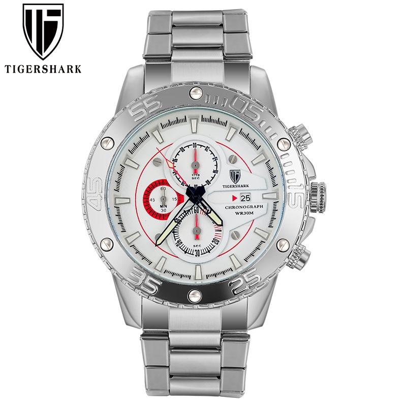 2017 new TIGERSHARK brand luminous silver dial watches men sport chronograph 30M waterproof date stainless steel wristwatches<br><br>Aliexpress
