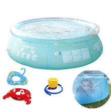 giant size 240cm transparent blue above ground swimming pool family pool inflatable pool for adults kids child aqua piscina(China)