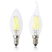 Energy Saving Dimmable E14 LED Filament C35 Lamp C35L Glass Candle Bulb 4W 8W 12W Replace Incandescent Light Chandeliers AC 220V(China)