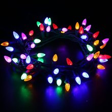 Outdoor LED String Lights Weatherproof Strawberry Lights,5M 50 LEDs Colored Christmas Light Strands C3 Bulbs for Patio Gard(China)