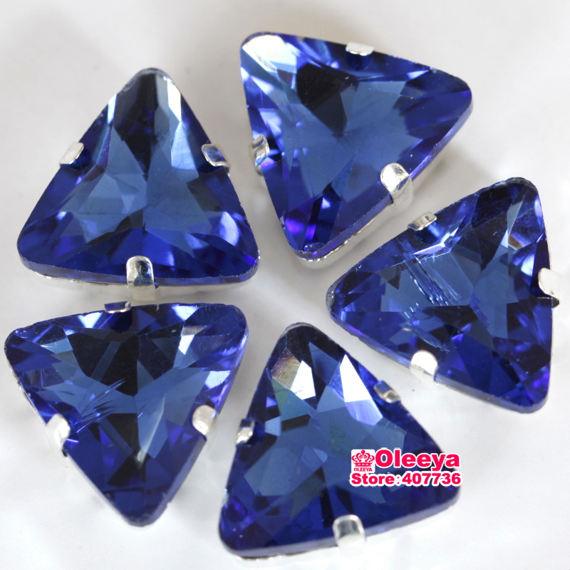 Light Sapphire Sew On Claw Rhinestones Sewing Crystal Strass Triangular Pointback Sewing Fancy Stones for Dresses,Bags Y3446(China)
