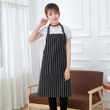 Brief Apron Waterproof Oilproof Stripe Bib Apron with 2 Pockets Chef Cook Tool for Home Kitchen Sanitary Food Drink Making