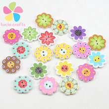 50pcs/lot Diameter 2cm Wooden Buttons Colorful Mixed Flowers Wave Edge Scrapbook Sewing Accessories 2 Holes 004010062