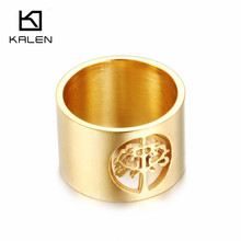 Kalen 1 PC Women Finger Rings Stainless Steel Bulgaria Gold Tree of Life Rings For Engagement Party Unique Jewelry Accessories(China)