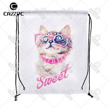 Hipster Watercolor Art Sweet Cute Cat Pattern Print Custom individual Nylon Fabric Drawstring Shoes Storage Dust Bag Pack of 4