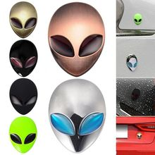 2017 Hot Full Metal 3D Alienware Alien Head Auto Logo Sticker Vinyl Badge Car Decals Graphic High Quality Car Styling(China)