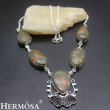 HERMOSA jewelry Natural beautiful Unakite made 925 sterling silver Retro Necklace HF1353