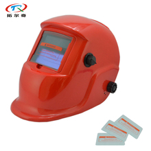 free shipping Red Solar Battery Replaced Auto Darkening Plastic Welding Helmet Mask wtih Face Protective glass HP03(2233FF)FS