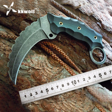 KKWOLF quality Camping Tactical  Karambit knife  Military Survival Tiger Tooth Knife AUS-8 blade G10 handle Combat Hunting knife