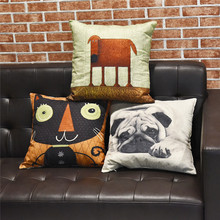 45*45 Linen Cotton Printed Cushion Cover For Sofa Car Decor Animals Pattern Cartoon Pillow Cover Home Decor Pillow Cases(China)