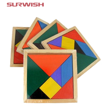 Surwish Wooden Tangram 7 Piece Jigsaw Puzzle Colorful Square IQ Game Brain Teaser Intelligent Educational Toys for Kids