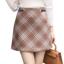 Buy 2017 autumn winter thicken woolen women's skirt high waist plaid vintage line mini skirts ladies slim zipper work jupe femme for $14.78 in AliExpress store