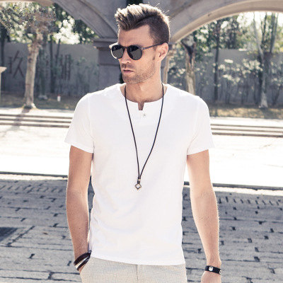 MRMT 2018 Brand New Mens T Shirt Short Sleeved T-Shirt V Collar Two Button Buttons Solid Colored Tshirt For Male Tops 59